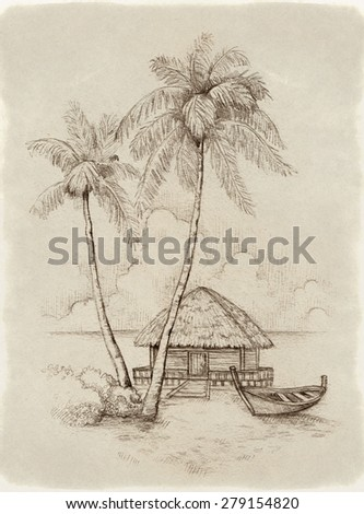 Illustration of the tropical beach - stock photo