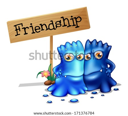 Illustration of the two blue monsters beside a signage on a white background - stock photo