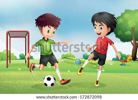 Illustration of the two boys playing soccer near the park - stock photo