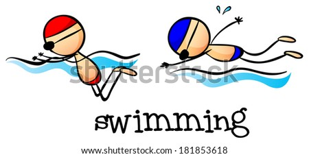 Illustration of the two boys swimming on a white background - stock photo