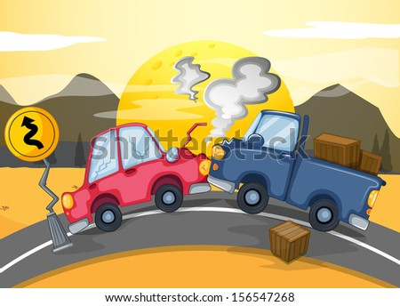 Illustration of the two cars bumping in the middle of the road - stock photo