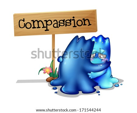 Illustration of the two compassionate monsters on a white background - stock photo