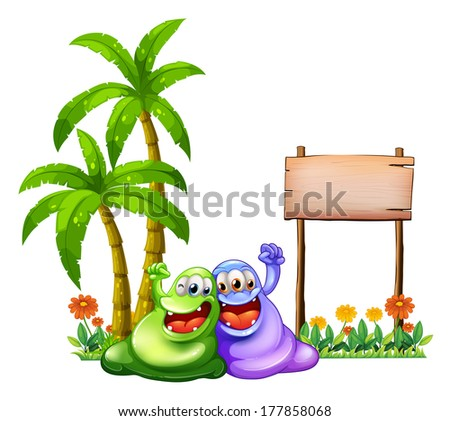 Illustration of the two monsters having fun in front of the empty wooden signboard on a white background - stock photo