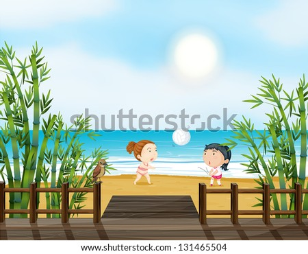 Illustration of the two young girls playing volleyball at the beach