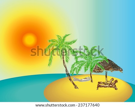 Illustration of the uninhabited island in the ocean with two palms and hammock