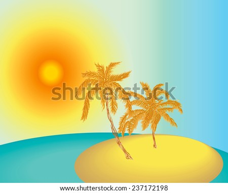Illustration of the uninhabited island in the ocean with two palms during sunset