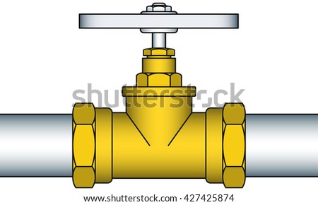 Illustration of the valving faucet pipeline - stock photo