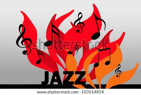 illustration of the word jazz with flames and musical notes - stock photo