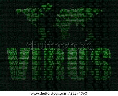 Illustration of the word virus on world map background and maps the world from binary digits on a dark background of binary digits