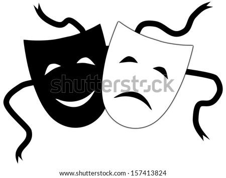 Illustration of Theatrical masks - stock photo