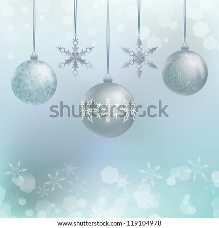 Illustration of three Christmas decoration balls with snowflakes - stock photo