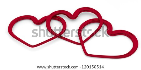 illustration of three entwined hearts on white background