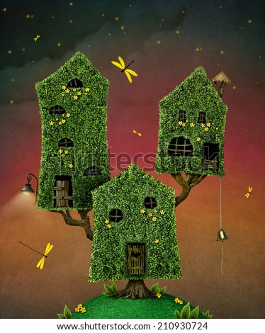 Illustration of three fabulous tree house - stock photo
