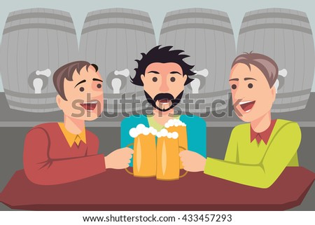 Illustration of three friends drinking beer in a bar. In the background the barrels of beer. Illustration.