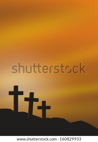 illustration of three grave crosses at dawn