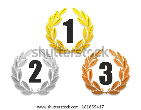 illustration of three laurel wreaths with different numbers