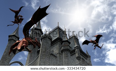 Illustration of three Red Dragons attacking the castle - stock photo