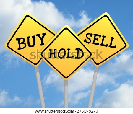 Illustration of three road signs with buy hold and sell text - stock photo