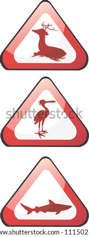 Illustration of three triangle boards with deer, crane and fish