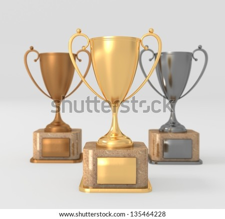 illustration of three trophies - gold, silver and bronze  - stock photo
