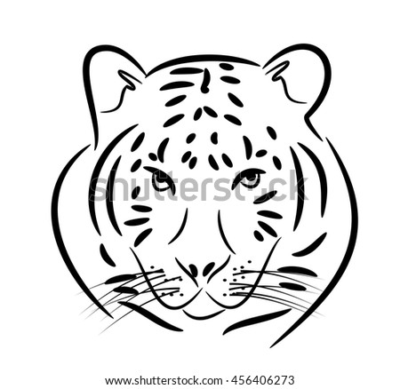Illustration of tiger head with black contours