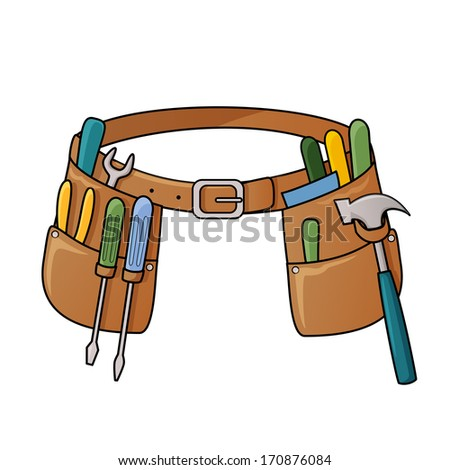Illustration of tool belt with different tools for construction. Raster - stock photo