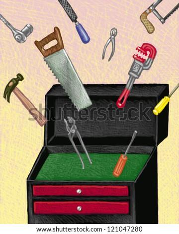 illustration of Tools - stock photo