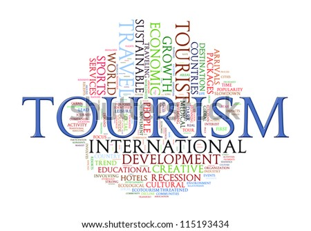 Illustration of tourism word tags wordcloud - stock photo