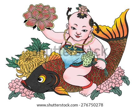 """illustration of traditional Chinese Pattern and Drawing """"Successive harvest' - stock photo"""
