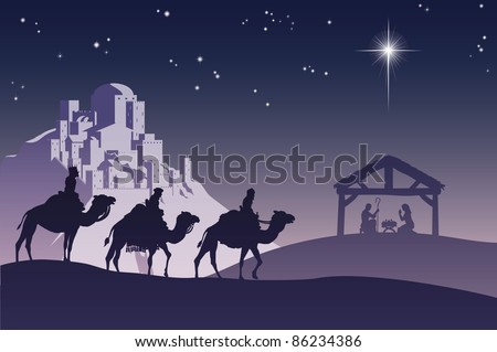 Illustration of traditional Christian Christmas Nativity scene with the three wise men going to meet baby Jesus in the manger. - stock photo