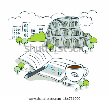 Illustration of traveling in Italy  - stock photo
