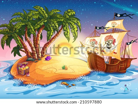 Illustration of treasure island and pirate ship - stock photo