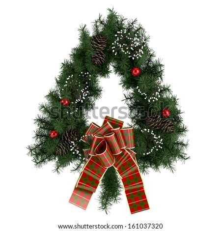 Illustration of triangle Christmas wreath with beautiful ribbon isolated on white background