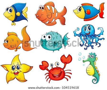 Illustration of tropical fish collection - EPS VECTOR format also available in my portfolio. - stock photo