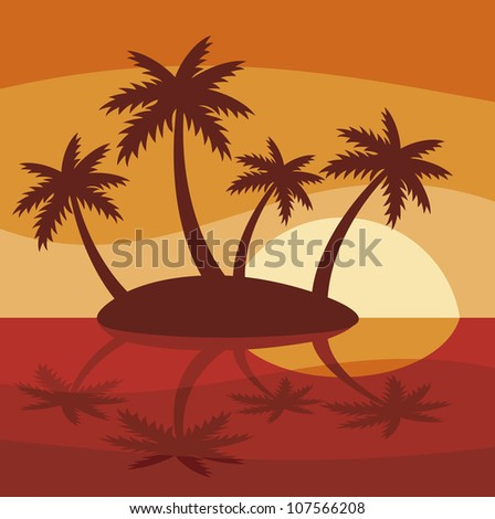 illustration of tropical island with four palms and sunset