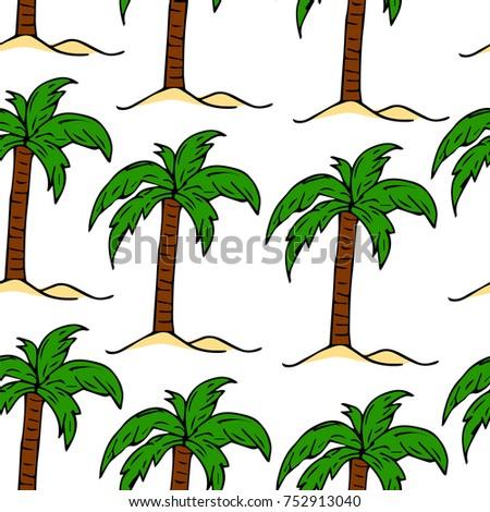Illustration Tropical Palm Tree Crown Green Stock Illustration