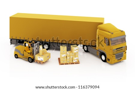 Illustration of truck, loader and boxes on white background - stock photo