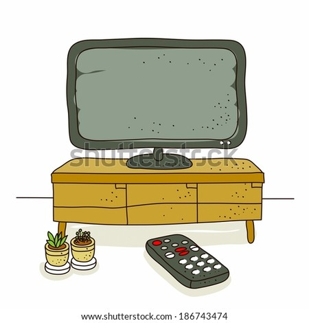 Illustration of TV and remote - stock photo