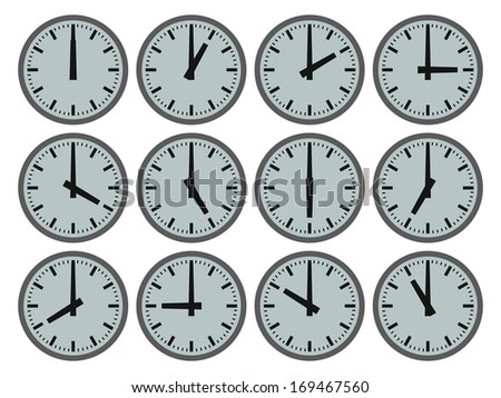 Illustration of twelve clocks showing hourly times - stock photo