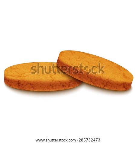 Illustration of two biscuits, isolated on grey background.