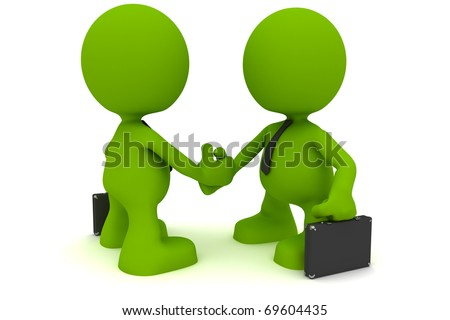 Illustration of two businessmen shaking hands.  Part of my cute green man series. - stock photo