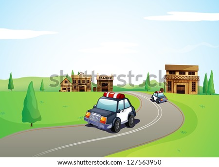 Illustration of two cars on the road and a saloon shop - stock photo