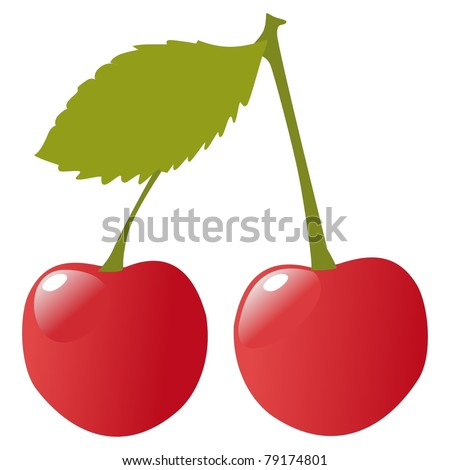 Illustration of two cherries - stock photo