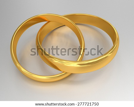 Illustration of two connected gold wedding rings. - stock photo