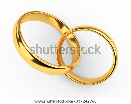 Illustration of two connected gold wedding rings - stock photo