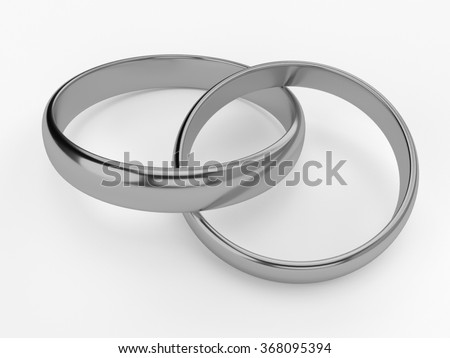 Illustration of two connected wedding rings - stock photo