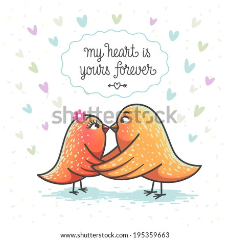Illustration of two cute birds in love
