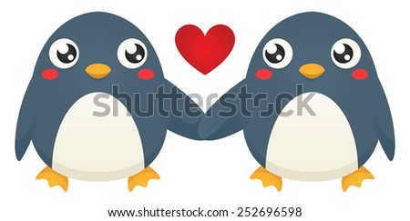 Illustration of two cute cartoon penguins holding flippers. Raster. - stock photo