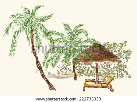 Illustration of two deck chairs and umbrella under the palms made in watercolor style. Isolated on the white background - stock photo