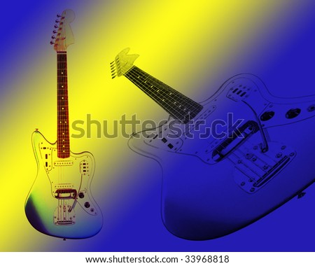 illustration of two electric guitars on blue and yellow background